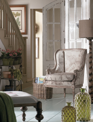 Provence collection by Bramble: French wing chair, Chateau divider and Spiral floor lamp