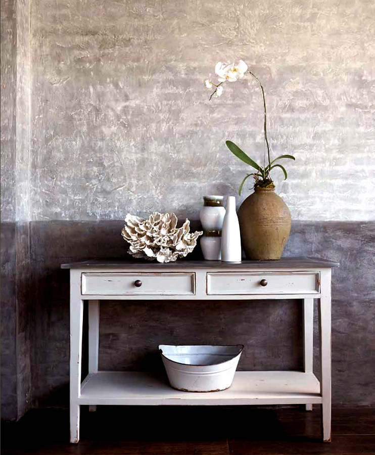 Distressed white Eaton two-drawer console table