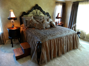 Francesca king bed with table lamps by Gallery Designs