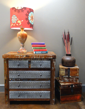 Reclaimed wood dresser (with tin drawers), Rhode Island lamp, reclaimed wood boxes and vintage iron planter