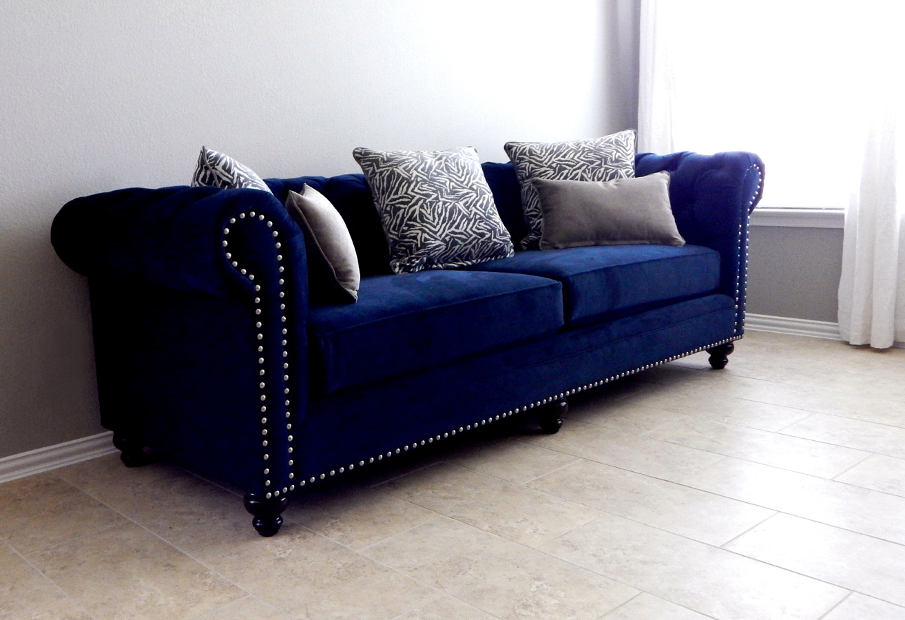 "Monte Carlo sofa in ""Oakley Ink"" upholstery"