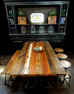 Hudson media cabinet, reclaimed wood dining table (with iron base), antique bench and reclaimed timber draftsman stools