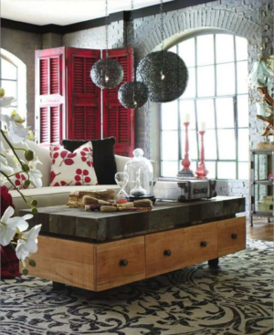 Urban collection by Bramble: Remi coffee table, Moroccan hanging lamps and Cottage shutter