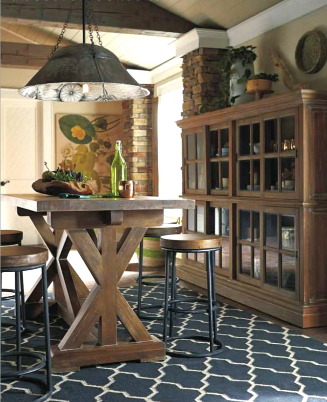 Wojan pendant chandelier, Riverwalk counter table, Indigo counter stools and English bookcase