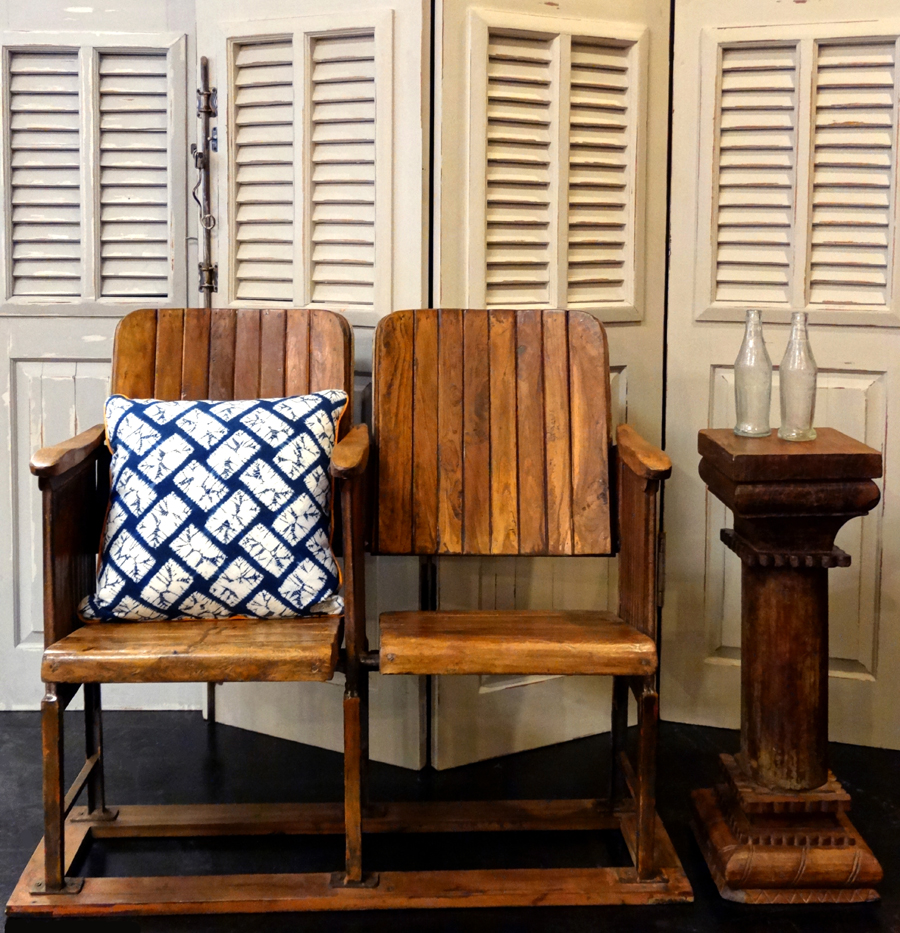 Vintage theater seats, reclaimed wooden pillar from India and Bramble cottage shutters